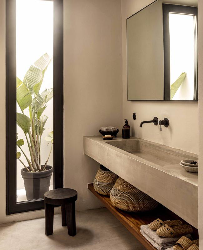 deco salle de bain nature beton