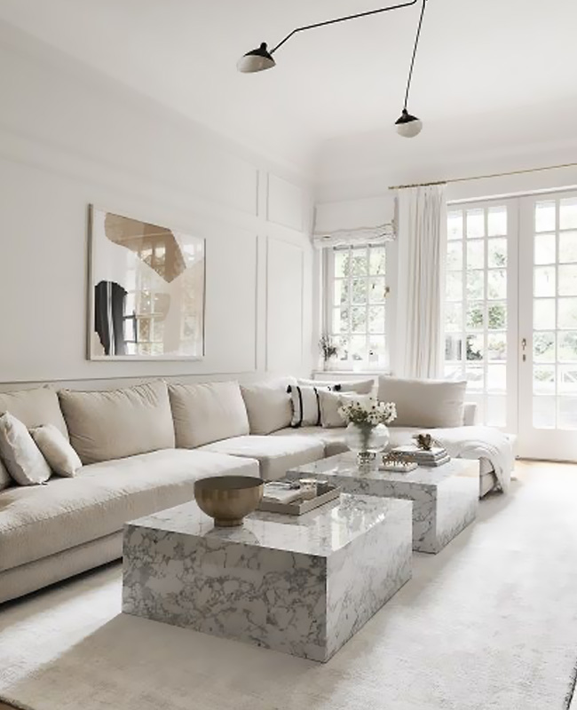 deco salon moderne chic marbre blanc