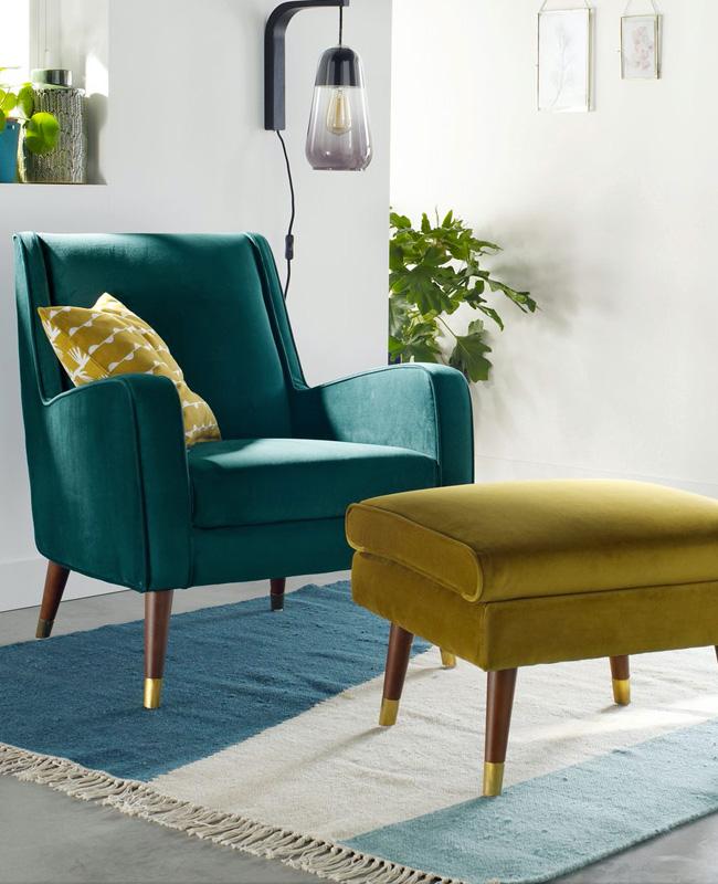 fauteuil bleu canard vintage velours