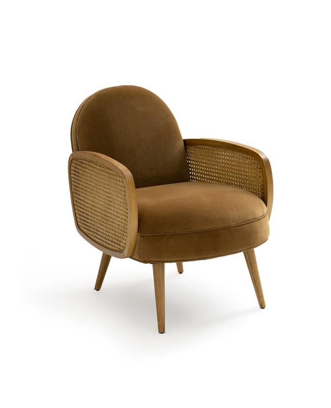 fauteuil velours cannage dore
