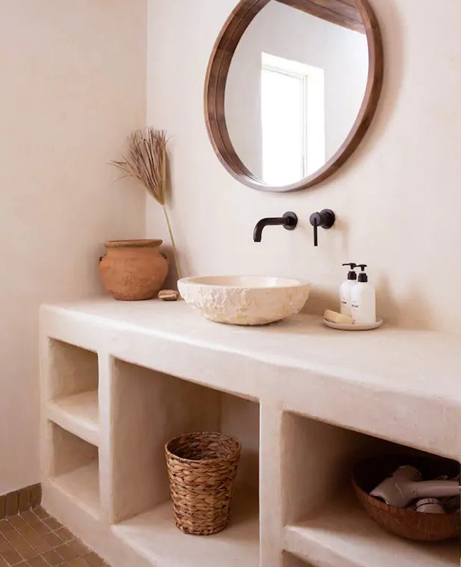 beton blanc deco salle de bain nature
