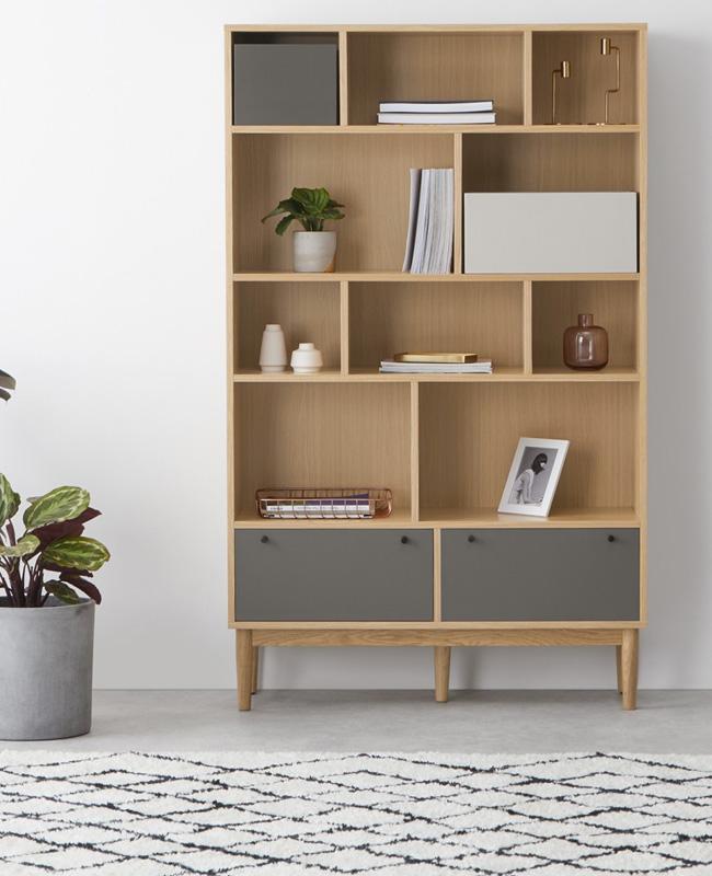 bibliotheque gris bois
