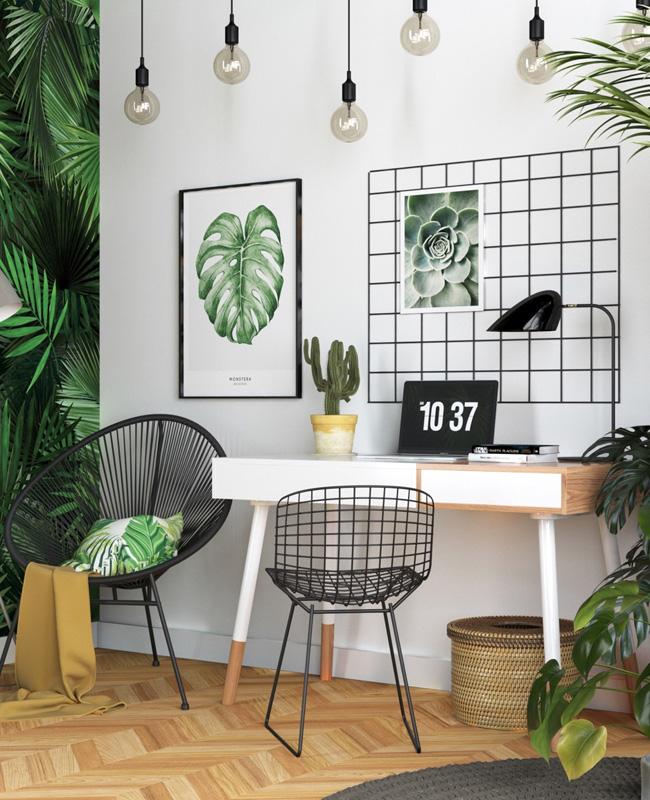 bureau tropical papier peint plantes