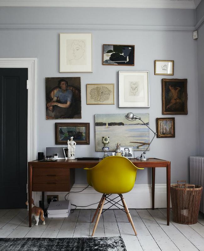 deco bureau vintage gris jaune