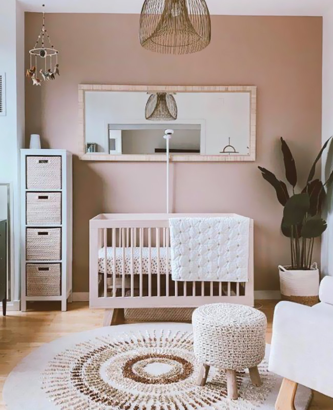 chambre bebe boheme rose beige