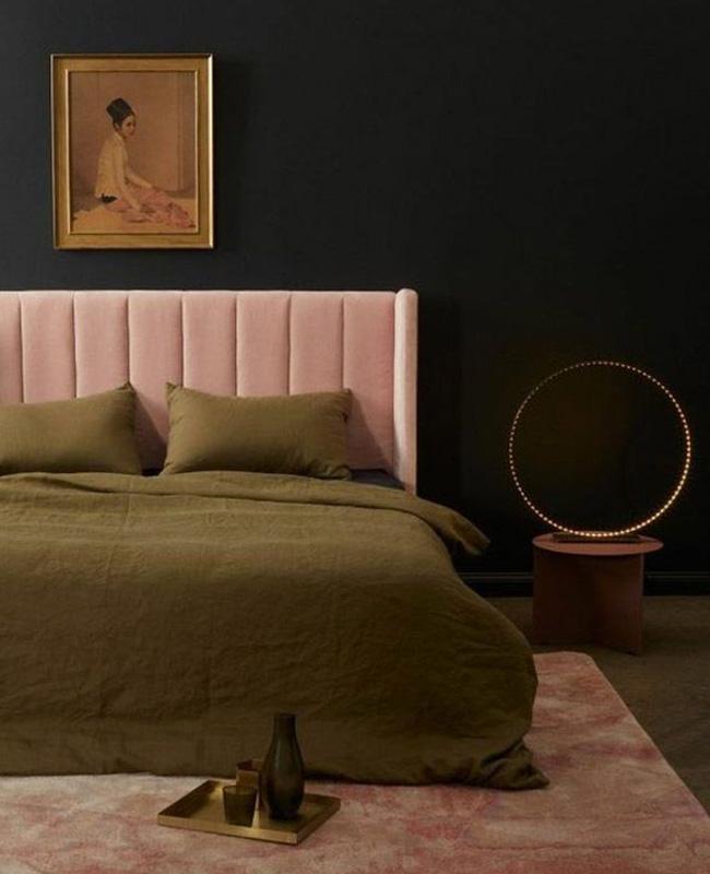 deco chambre minimaliste vert kaki rose