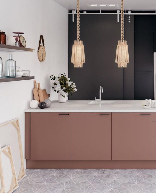 deco cuisine gris rose moderne