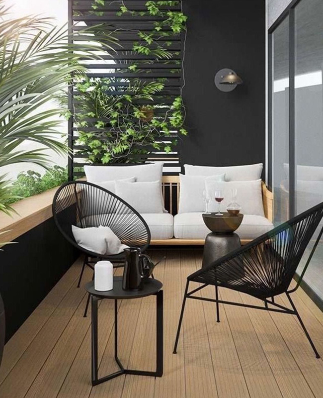 deco balcon moderne bois noir