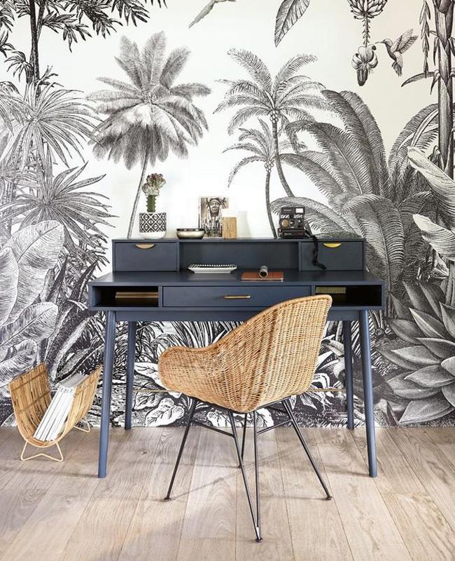 deco bureau papier peint tropical noir blanc