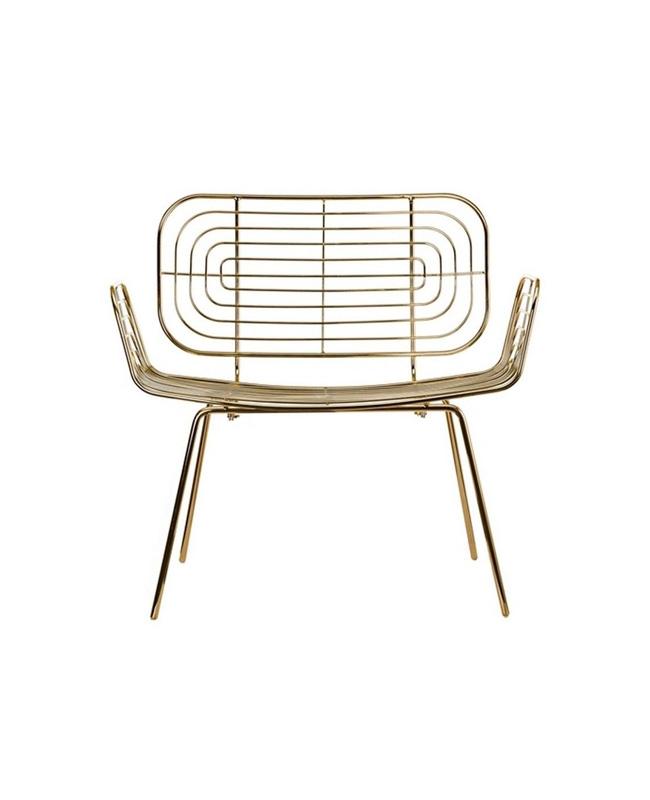 fauteuil metal dore