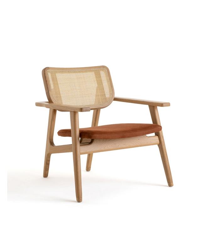 fauteuil terracotta bois cannage