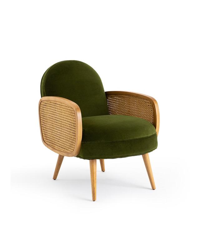 fauteuil velours vert cannage