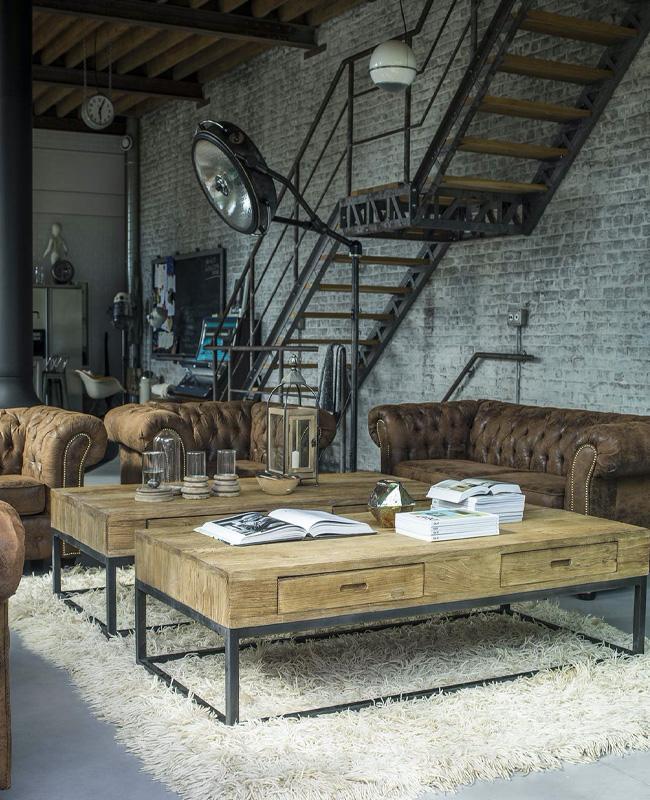 mur brique gris salon industriel