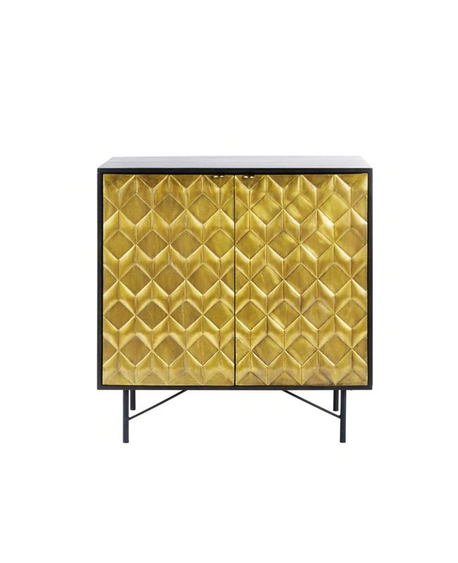 cabinet deux portes dore