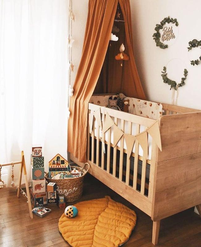 ciel de lit terracotta deco chambre bebe