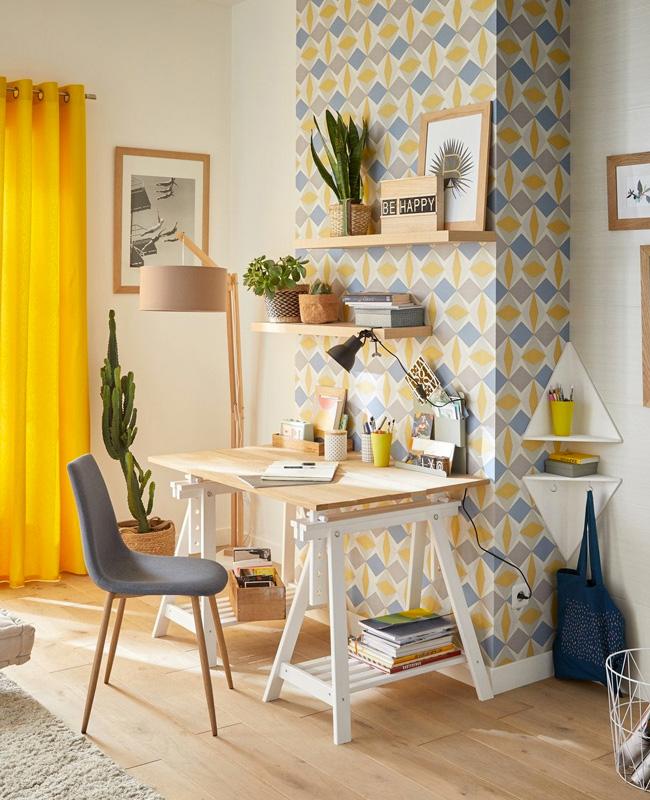 deco bureau scandinave gris jaune