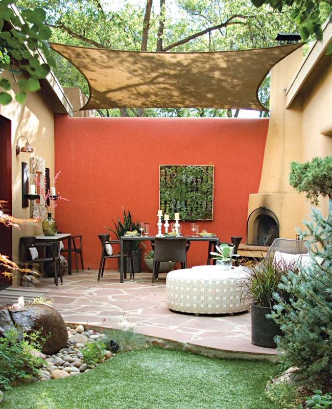 mur terrasse terracotta moderne