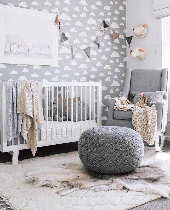 papier peint nuage gris blanc deco chambre bebe