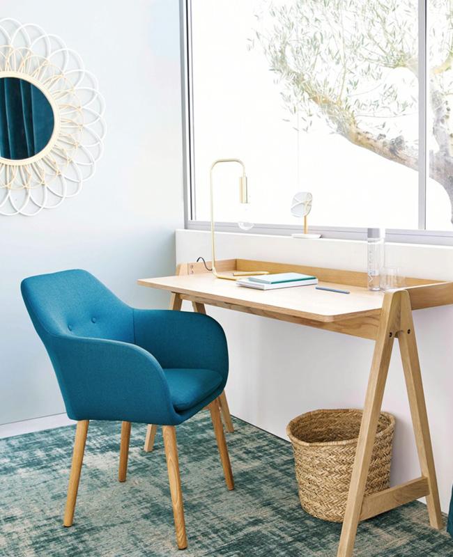 petit fauteuil scandinave bleu canard