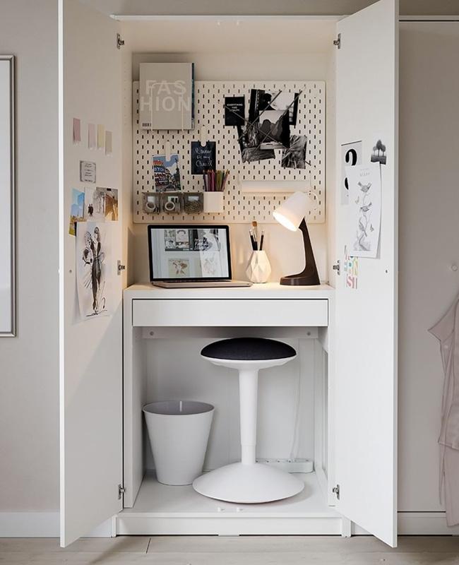 bureau intégré dans placard chambre
