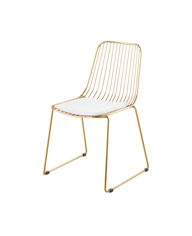 chaise metal dore