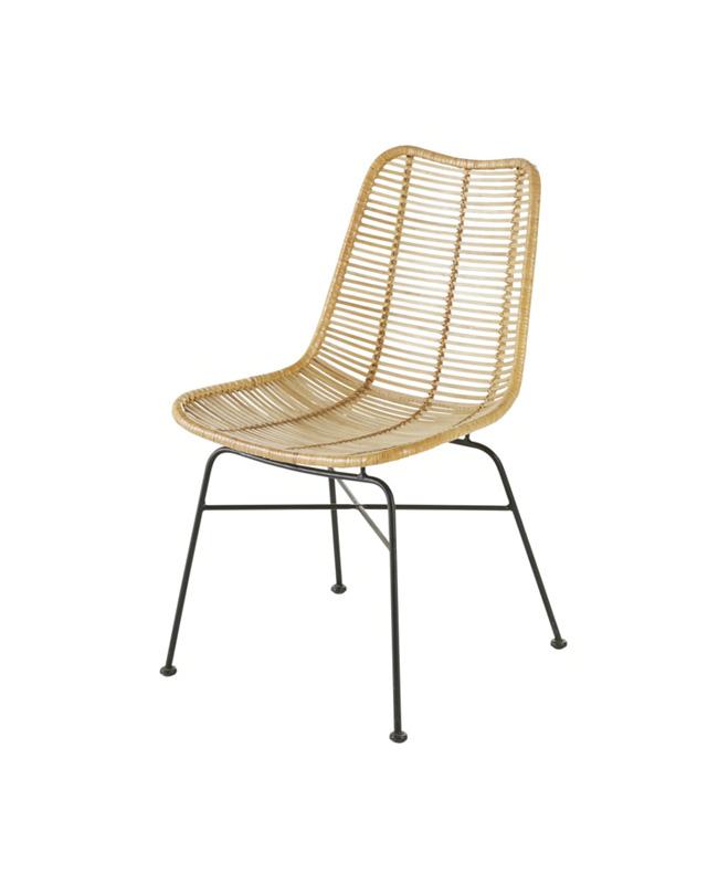chaise rotin metal noir