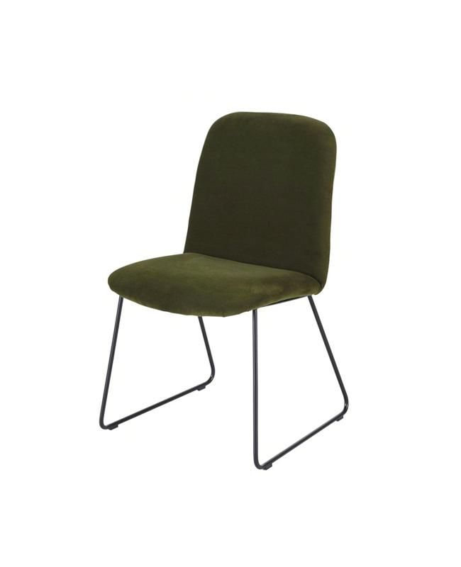 chaise velours vert kaki