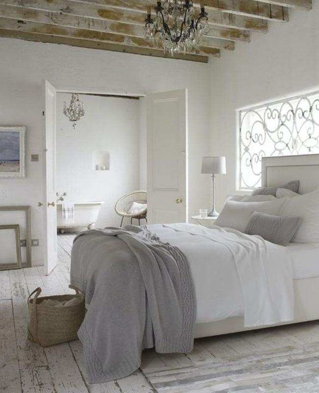 deco chambre campagne sol bois blanchi