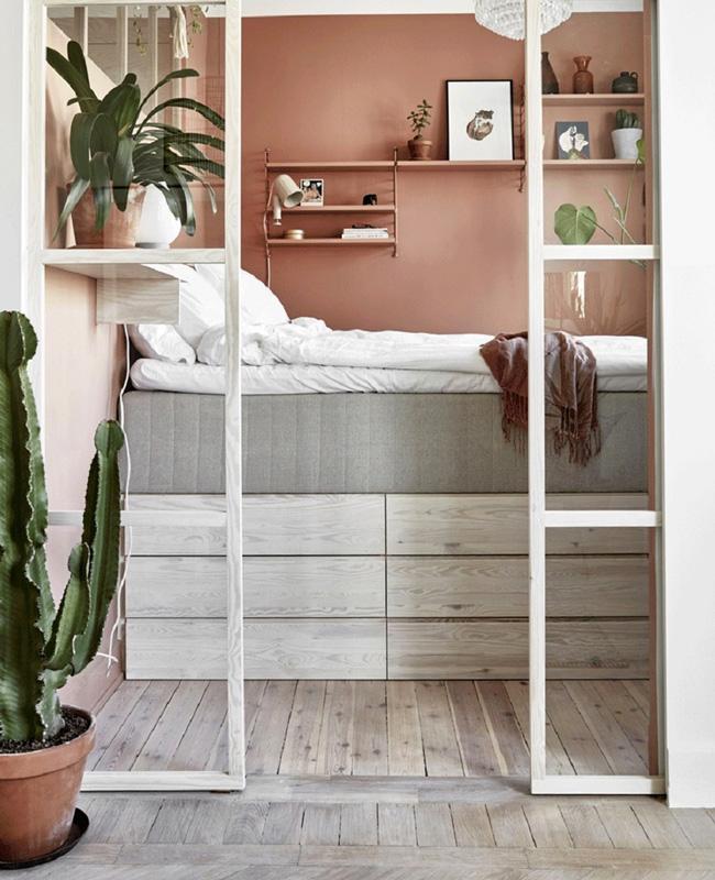 deco chambre terracotta vert plante