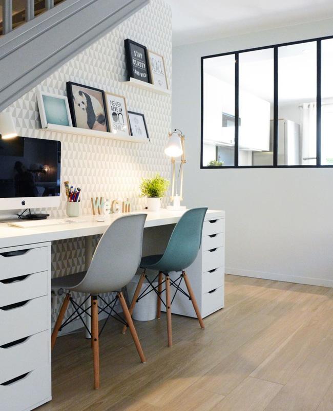 papier peint géométrique deco bureau