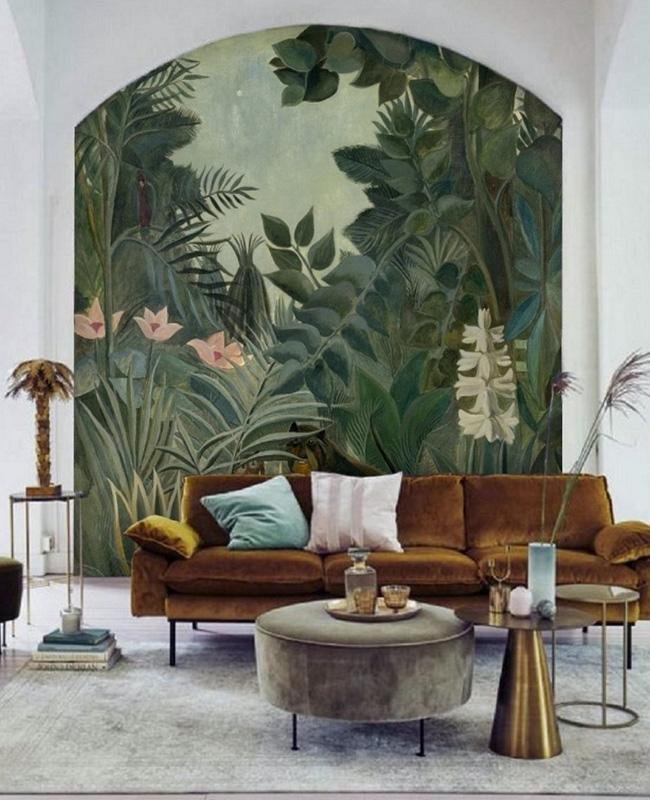 deco tropicale salon arche papier peint
