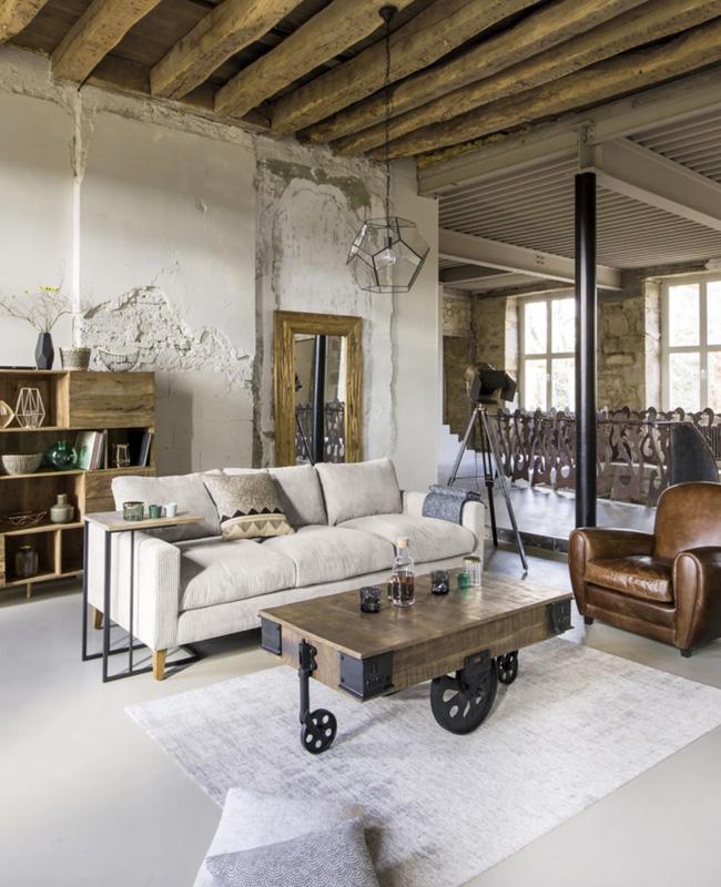 fauteuil club cuir deco salon industriel