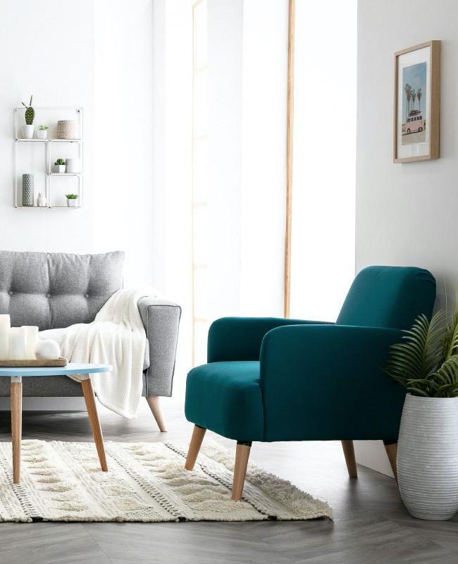 fauteuil scandinave bleu canard