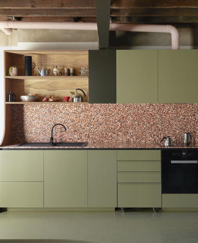 meuble cuisine vert credence terracotta