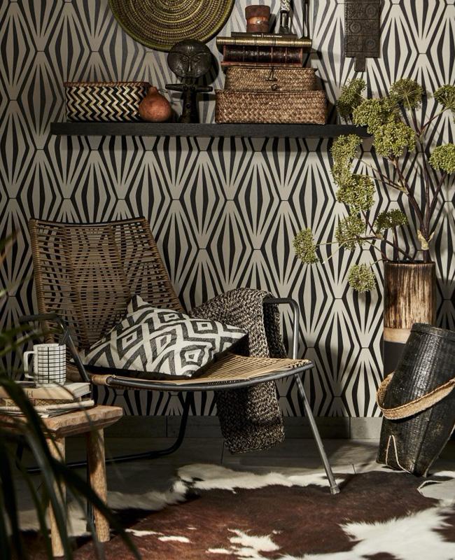 papier peint ethnique deco salon