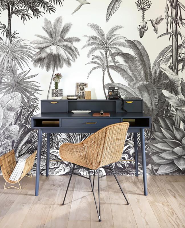 papier peint tropical noir blanc deco bureau