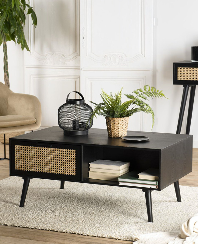 table basse cannage noire