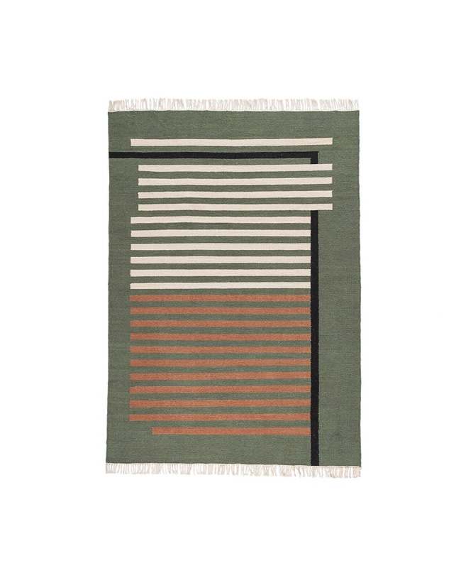 tapis vert kaki motifs