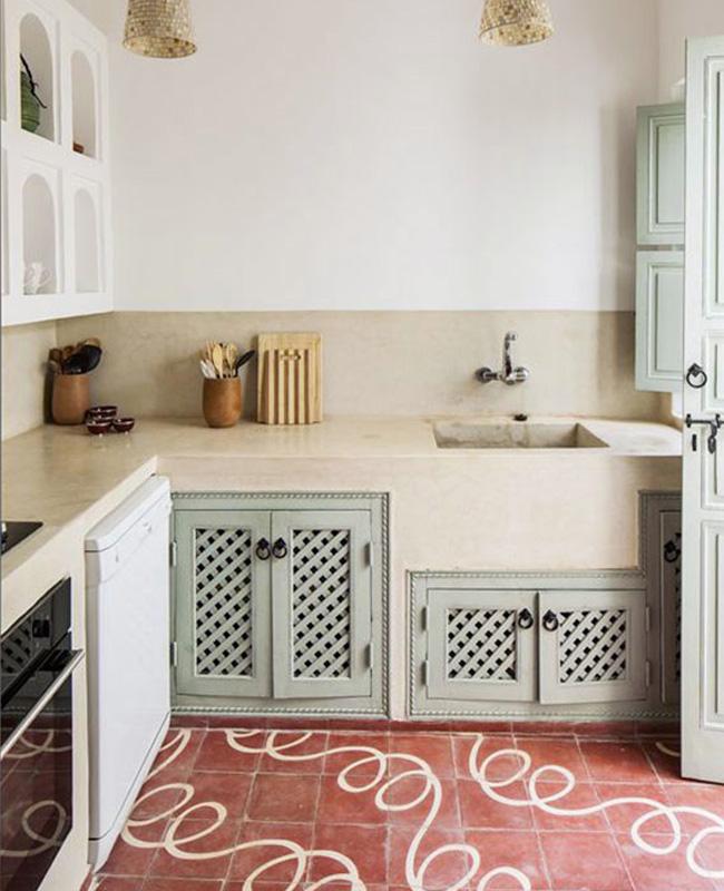 deco cuisine vert pastel terracotta