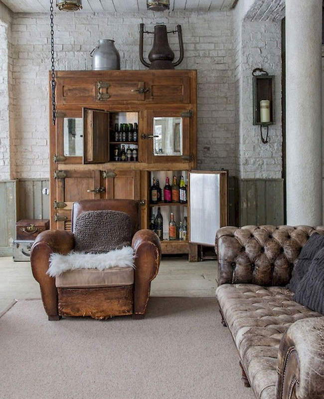 deco salon industriel canape cuir