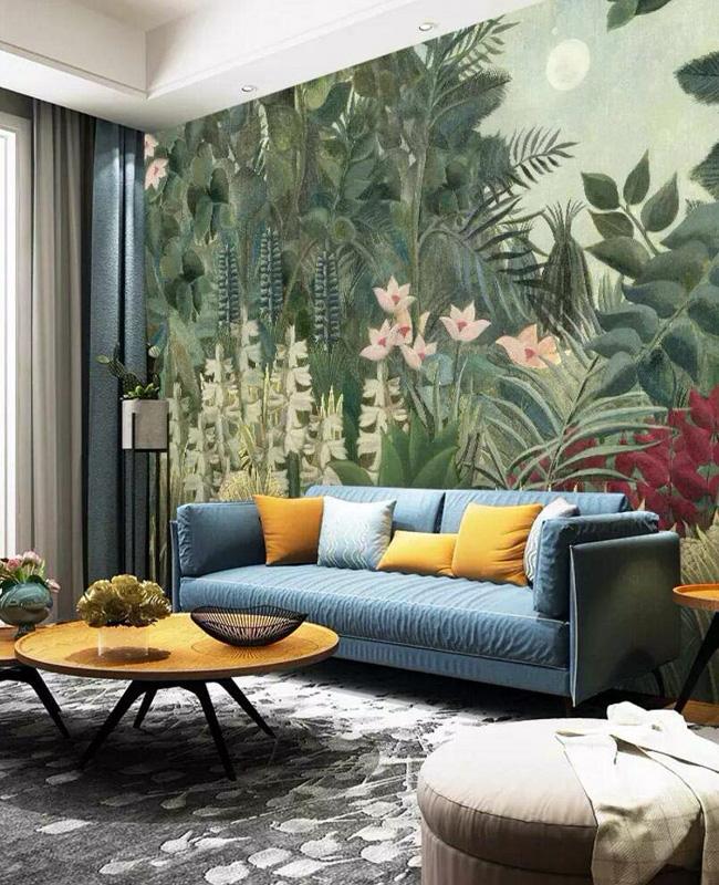 deco tropicale salon papier peint panoramique
