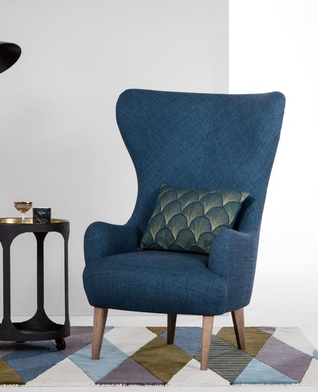 fauteuil bleu canard haut dossier
