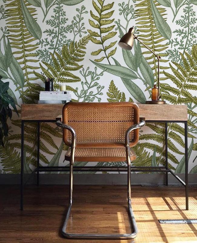 papier peint tropical deco bureau