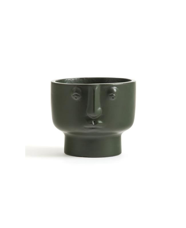 cache pot visage vert kaki