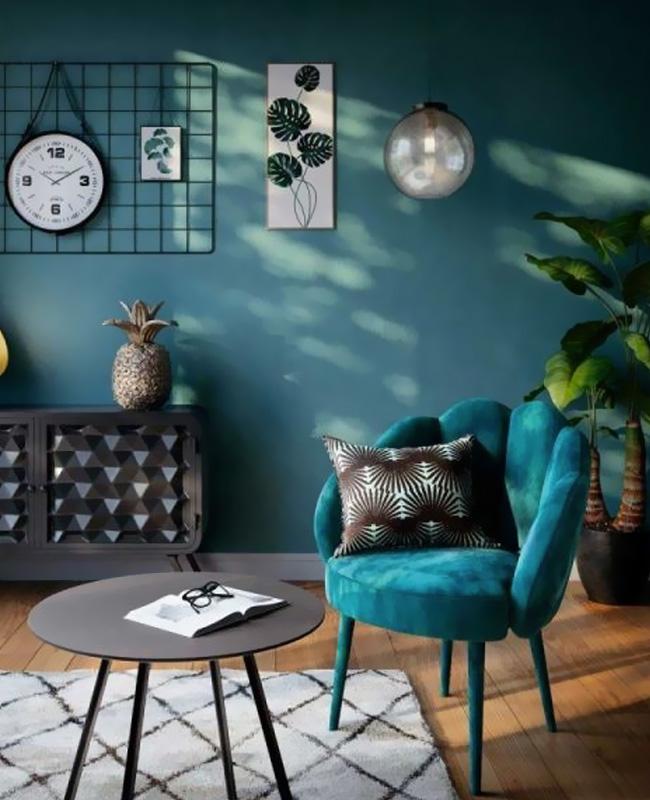 fauteuil coquillage bleu canard velours
