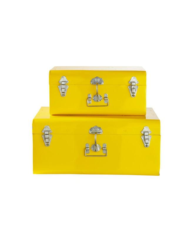 malle metal jaune