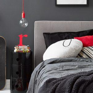 deco chambre ado gris rouge