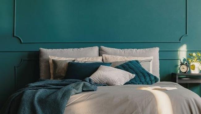 deco chambre bleu vert canard