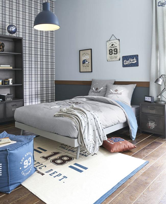 deco chambre ado gris bleu américain