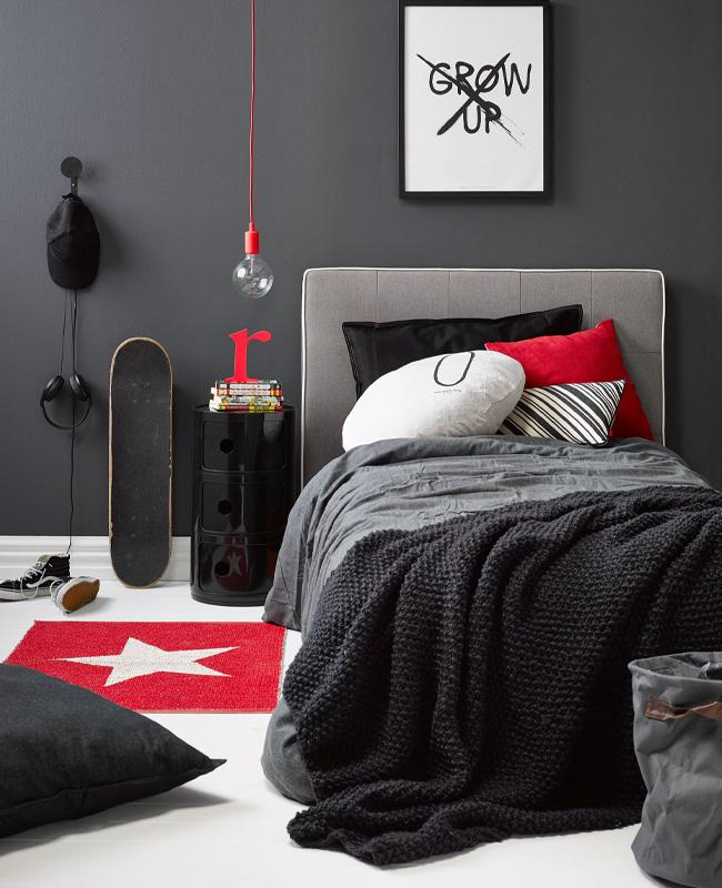 deco chambre ado gris rouge moderne